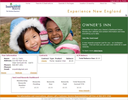 Personalized Owner's Inn Home Page